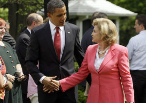 President Barack Obama shakes hands with Rep. Carolyn Maloney, D-N.Y., in the Rose Garden of the White House in Washington, Friday, May 22, 2009, after he signed the Credit Card Accountability, Responsibility and Disclosure Act. (AP Photo/Haraz N. Ghanbari)